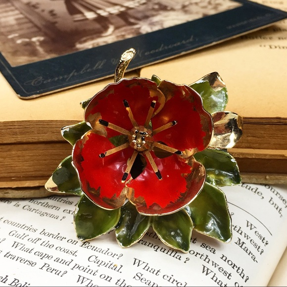 Vintage Jewelry - Vintage Enamel Poppy Brooch